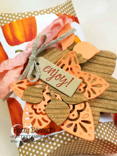Vegas Gold Shimmer Paint tip featuring Stampin' Up! Detailed Leaves framelit dies and Corrugated embossing folder, by Patty Bennett www.PattyStamps.com