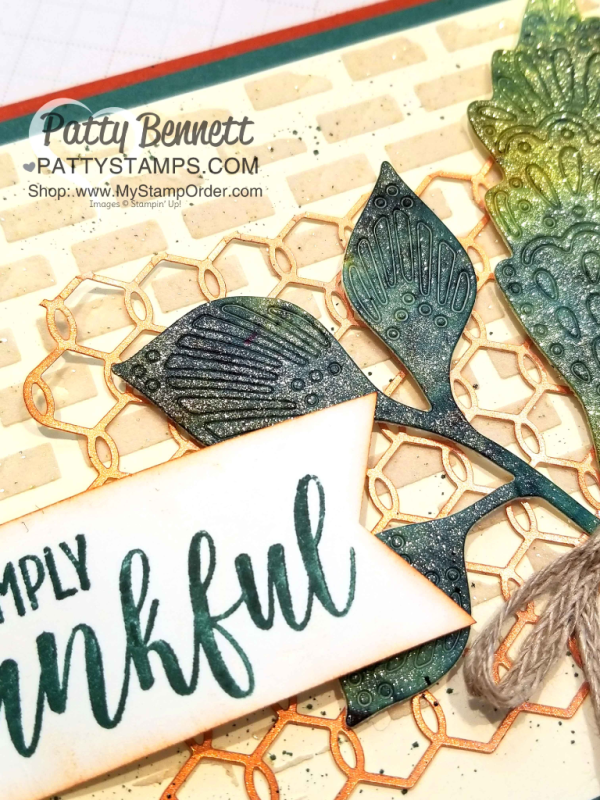 Vegas Gold Shimmer Paint tip featuring Stampin' Up! Detailed Leaves framelits and Brusho Crystal Colour, by Patty Bennett www.PattyStamps.com