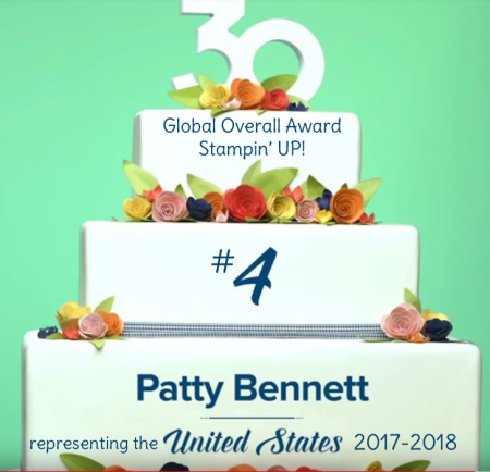 Patty Bennett #4 overall Globally, representing the USA 2017-2018 Stampin' Up! demonstrator