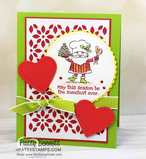 So Santa Christmas card idea featuring Delightfully Detailed laser cut paper background and stitched die cut hearts from the Stampin' UP! Sweetly Stitched framelit dies. Handmade card by Patty Bennett www.PattyStamps.com