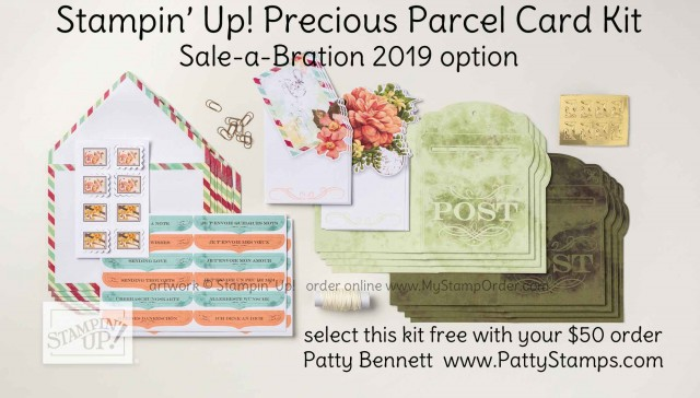 Sale-a-Bration 2019 Stampin' Up! Precious Parcel Card Kit - free gift option with your $50 purchase Jan. 3 2019 to March 31, 2019. www.PattyStamps.com