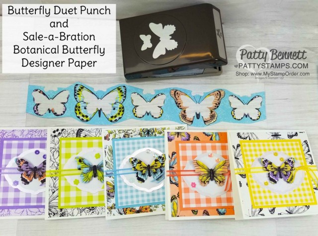 Butterfly Gala Note Card Ideas featuring Stampin' Up! Gigham Paper, Botanical Butterfly designer paper, and Butterfly Gala bundle/ Butterfly Duet punch. Occasions catalog and Sale-a-Bration 2019 products. Cards by Patty Bennett www.PattyStamps.com