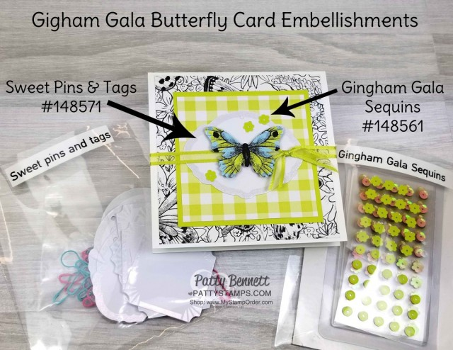 Embellishments for Butterfly Gala Note Card Ideas featuring Stampin' Up! Gigham Paper, Botanical Butterfly designer paper, and Butterfly Gala bundle/ Butterfly Duet punch. Occasions catalog and Sale-a-Bration 2019 products. Cards by Patty Bennett www.PattyStamps.com