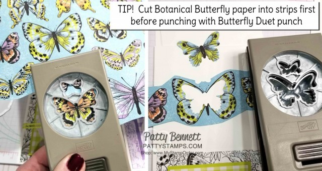 Crafting Tip for Butterfly Gala Note Card Ideas featuring Stampin' Up! Gigham Paper, Botanical Butterfly designer paper, and Butterfly Gala bundle/ Butterfly Duet punch. Occasions catalog and Sale-a-Bration 2019 products. Cards by Patty Bennett www.PattyStamps.com