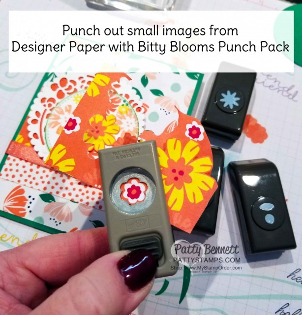 Tip for the Bitty Blooms Punch pack & Card Idea featuring Happiness Blooms suite - 2019 Stampin' UP! Occasions catalog floral stamp set, designer paper and accessories. by Patty Bennett, www.PattyStamps.com