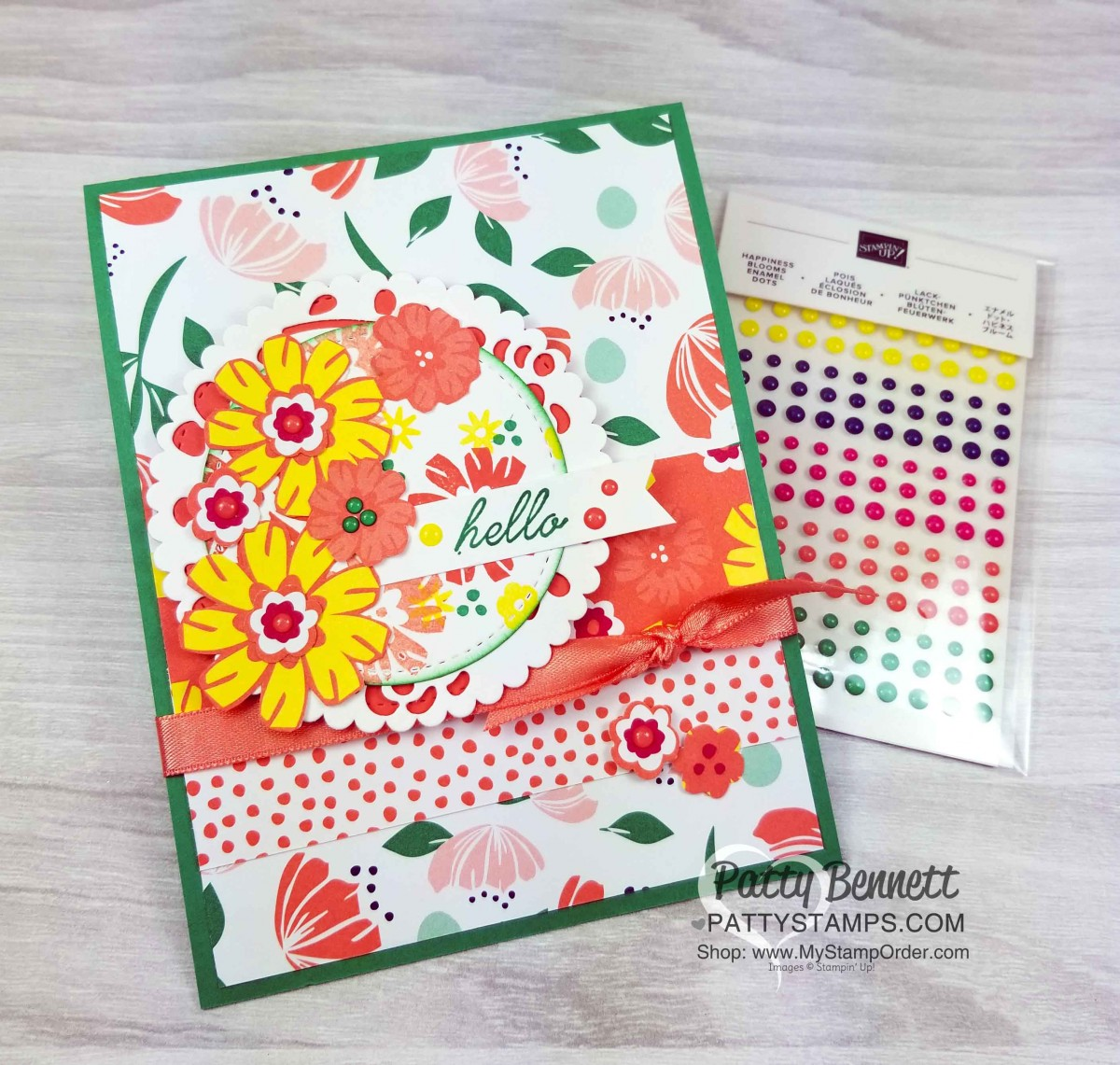 Happiness Blooms Card Idea - Occasions catalog sneak peek - Patty Stamps