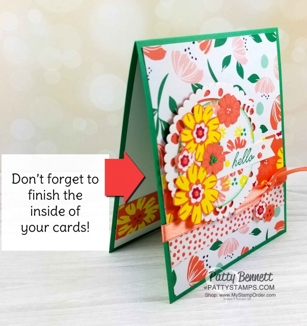 Card Idea featuring Happiness Blooms suite - 2019 Stampin' UP! Occasions catalog floral stamp set, designer paper and accessories. by Patty Bennett, www.PattyStamps.com