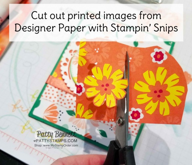 Use paper snips to cut out printed floral images in the Happiness Blooms designer paper pack from Stampin' UP!. www.PattyStamps.com