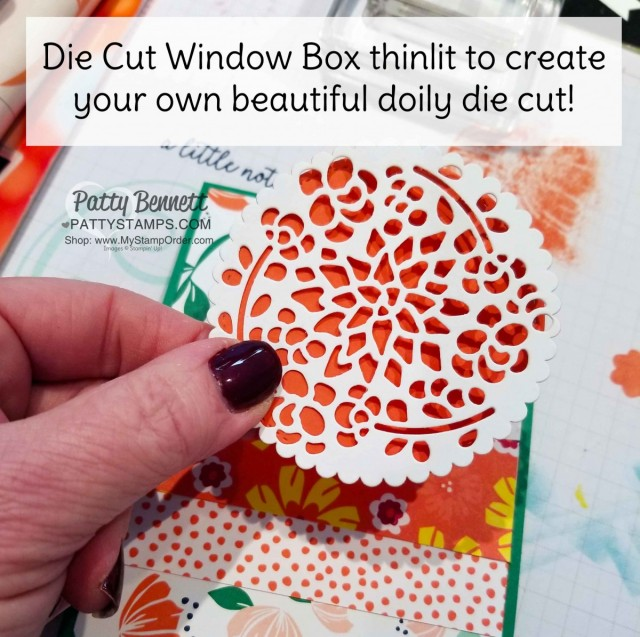 Make your own pretty paper doily with the Window Box thinlit from Stampin' UP!. Use scalloped circle framelit for scalloped edge. by Patty Bennett www.PattyStamps.com