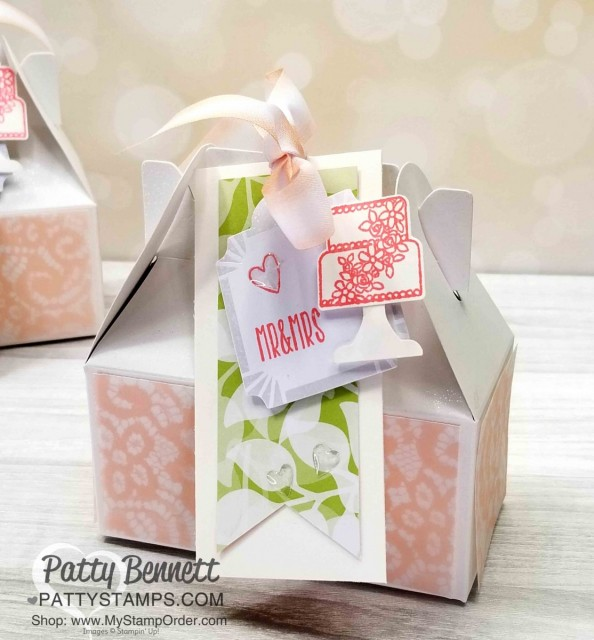 Wedding Gift Card Holder or Favor idea featuring Stampin' UP! Lustrous White Gable Box and Floral Romance designer paper. Tag features Piece of Cake stamp set and Cake Builder punch with epoxy hearts. By Patty Bennett www.PattyStamps.com
