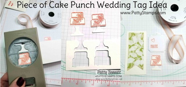 Tips for Wedding Gift Card Holder or Favor idea featuring Stampin' UP! Lustrous White Gable Box and Floral Romance designer paper. Tag features Piece of Cake stamp set and Cake Builder punch with epoxy hearts. By Patty Bennett www.PattyStamps.com