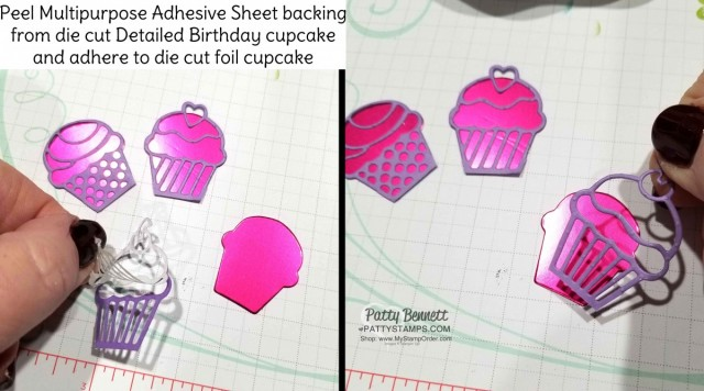 Assembly Tip for the Sweet Cup Birthday Party Favor Idea. Stampin' UP! How Sweet It Is designer paper, Sweet Pins & Tags and Detailed Birthday Cupcake edgelit dies. Project by Patty Bennett www.PattyStamps.com