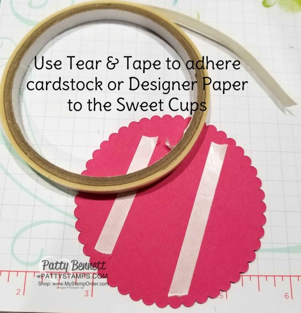 Use Tear & Tape for the Sweet Cup Birthday Party Favor Idea. Stampin' UP! How Sweet It Is designer paper, Sweet Pins & Tags and Detailed Birthday Cupcake edgelit dies. Project by Patty Bennett www.PattyStamps.com