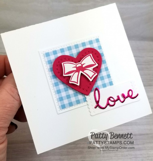 Stampin' Up! Well Written framelits - love card - featuring Sweetly Stitched heart and Candy Cane builder bow punch. Gingham Gala paper from the Occasions 2019 catalog. 4x4 card by Patty Bennett, www.PattyStamps.com