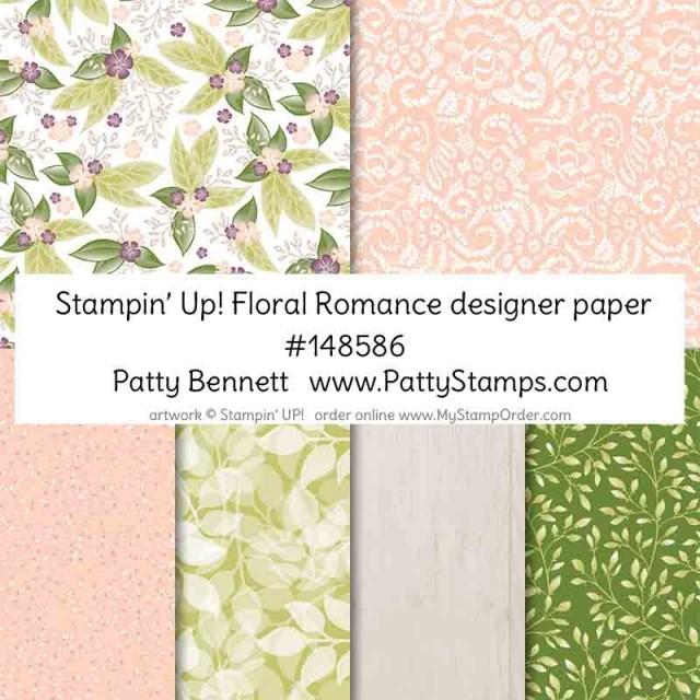Stampin' UP! Floral Romance designer paper and vellum pack. order #148586 at www.MyStampOrder.com