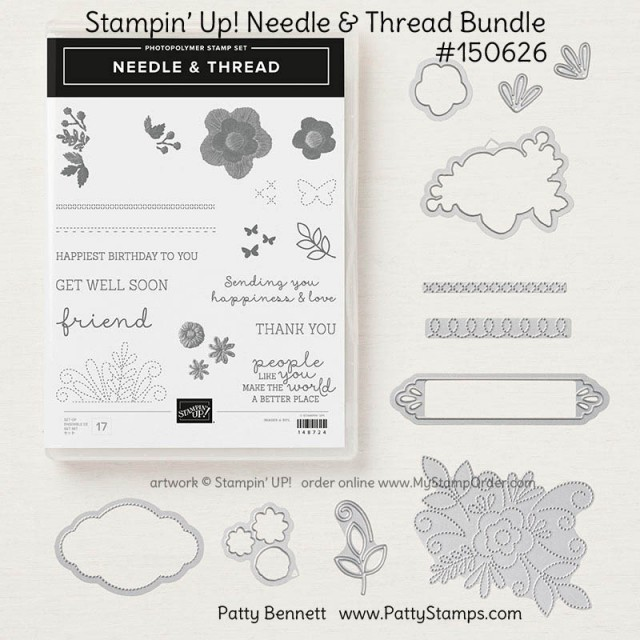 Needle & Thread bundle from Stampin' UP! Occasions catalog 2019 #150626 available online at www.MyStampOrder.com from Patty Bennett