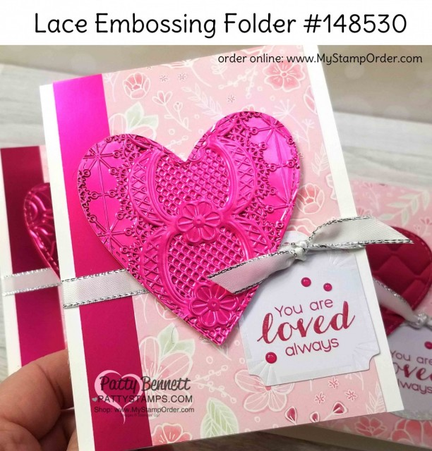 Stampin' Up! 2019 Sale-a-Bration (SAB) Lovely Lipstick Foil sheets, die cut with the Be Mine Stitched heart framelits and embossed with the Lace embossing folder. Valentine card idea by Patty Bennett www.PattyStamps.com