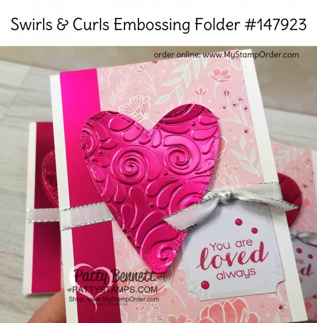 Stampin' Up! 2019 Sale-a-Bration (SAB) Lovely Lipstick Foil sheets, die cut with the Be Mine Stitched heart framelits and embossed with Swirls & Curls embossing folder. Valentine card idea by Patty Bennett www.PattyStamps.com