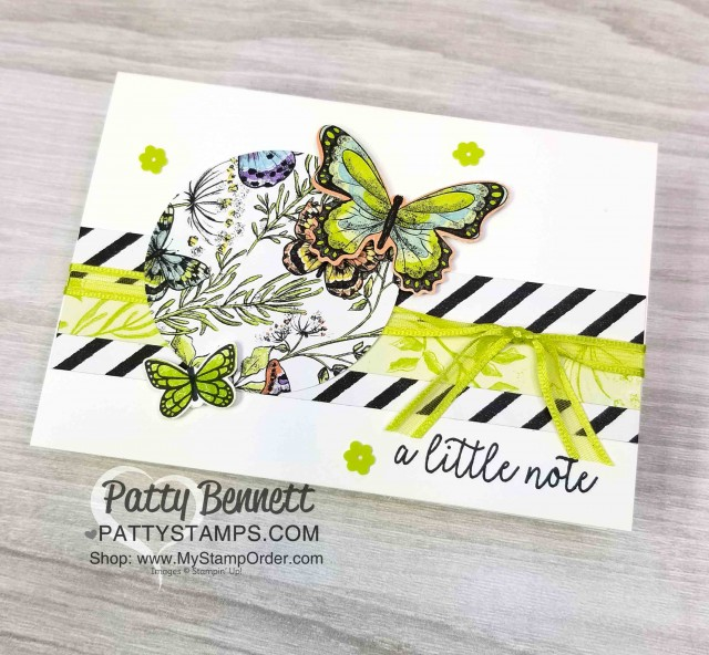 Stampin' Up! Butterfly Gala Builder Punch Note Card featuring Sale-a-Bration 2019 Botanical Butterfly designer paper and Organdy Ribbon - 2 free gifts available with purchase through 3/31/19. Card by Patty Bennett www.PattyStamps.com