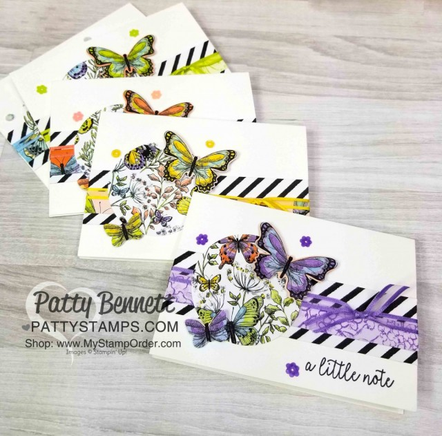 Stampin' Up! Butterfly Gala Builder Punch Note Cards featuring Sale-a-Bration 2019 Botanical Butterfly designer paper and Organdy Ribbon - 2 free gifts available with purchase through 3/31/19. Cards by Patty Bennett www.PattyStamps.com