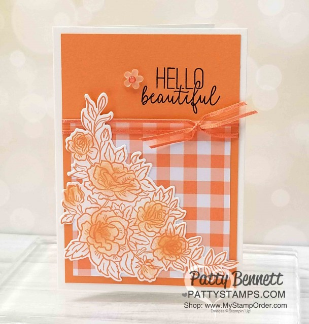 Climbing Roses Note Card idea! Sponge Grapefruit Grove ink onto roses then add Wink of Stella for sparkle! Gingham Gala paper and Grapefruit Grove ribbon - all supplies from Stampin' UP!. By Patty Bennett, www.PattyStamps.com