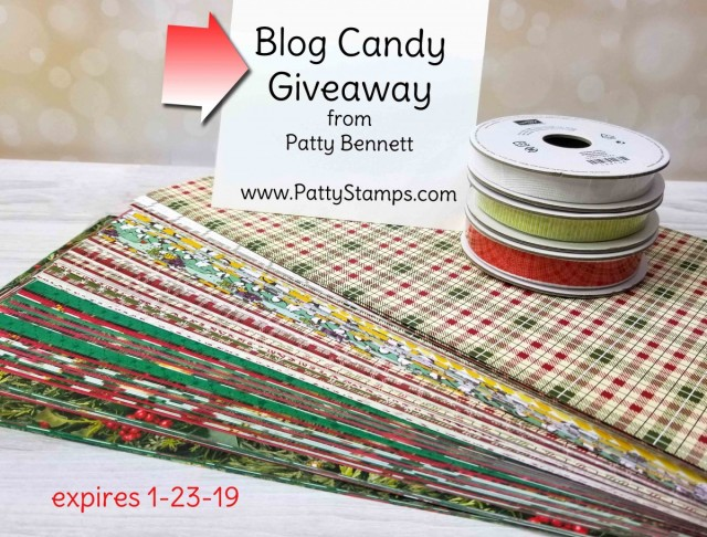 Blog Candy Giveaway at www.PattyStamps.com. Enter to win this stack of Stampin' Up! designer paper and 3 rolls of ribbon! Ends 1-23-19