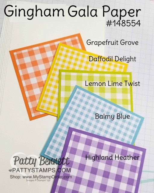 Stampin' Up! Gingham Gala Paper, Occasions catalog 2019 product. Patty Bennett www.PattyStamps.com
