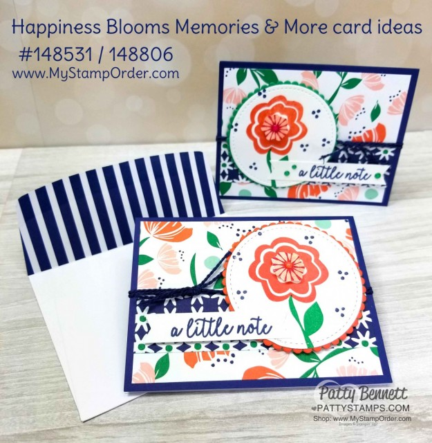 Happiness Blooms Memories and More cards created with Stampin' Up! card pack and Card & Envelope pack! Featuring Bloom by Bloom stamp set. Cards by Patty Bennett www.PattyStamps.com