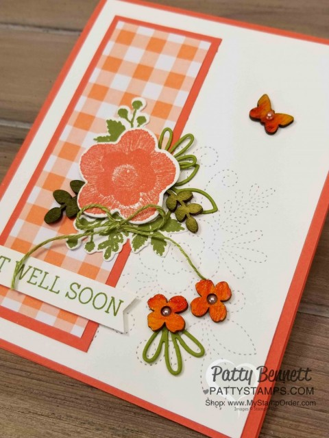 Needle & Thread Stampin' UP! Bundle card idea featuring Gingham Gala designer paper and wood Butterfly Elements from Sale-a-Bration 2019. www.PattyStamps.com