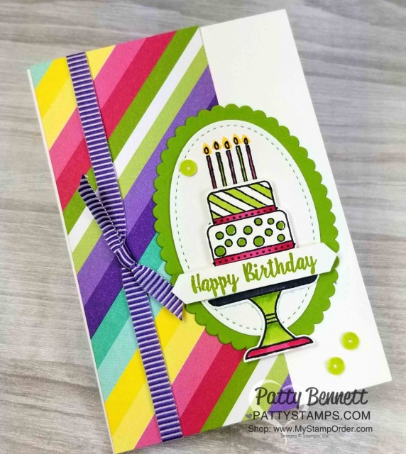 Stampin' UP! Piece of Cake bundle - stamp set and punch - create such cute birthday cards! Stamp with Memento Black ink and color with Stampin' Blends markers. Cards by Patty Bennett www.PattyStamps.com