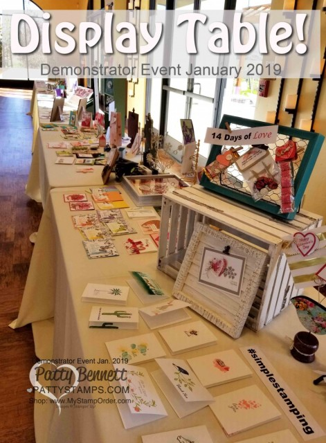 Stampin' UP! Demonstrator event January 2019 hosted by Patty Bennett & Gina Cardera. Garre Winery, Livermore, CA. Display Tables of papercrafting projects brought by demonstrators!
