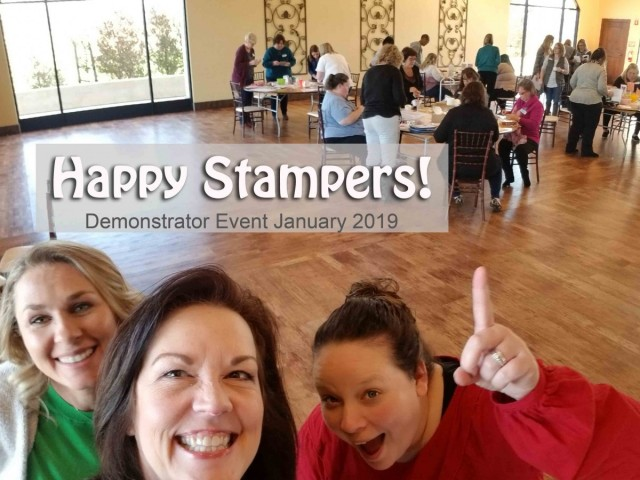 Stampin' UP! Demonstrator event January 2019 hosted by Patty Bennett & Gina Cardera. Garre Winery, Livermore, CA. Happy Stampers creating projects at the Make & Take tables!