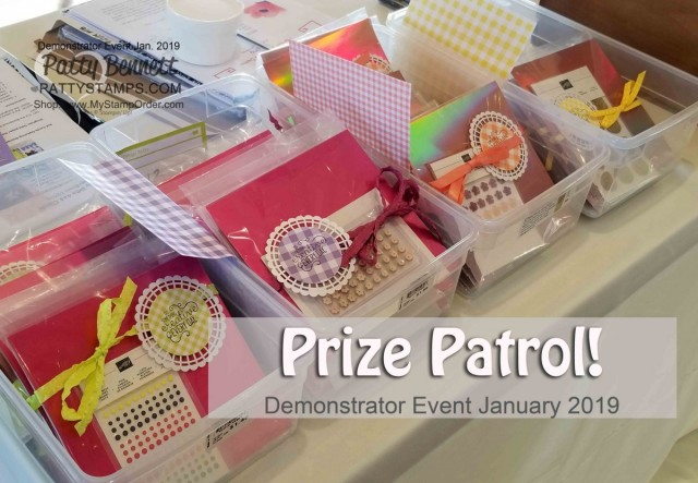 Stampin' UP! Demonstrator event January 2019 hosted by Patty Bennett & Gina Cardera. Garre Winery, Livermore, CA. Prize Patrol goodies!