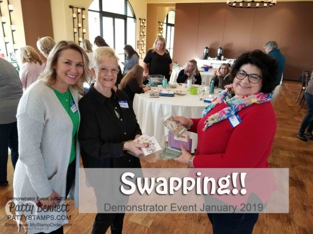Stampin' UP! Demonstrator event January 2019 hosted by Patty Bennett & Gina Cardera. Garre Winery, Livermore, CA. Swapping cards with Natalie White from Stampin' UP!