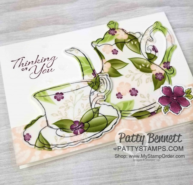 Stampin' UP! Tea Together Note Card ideas and video tutorial by Patty Bennett. Floral Romance vellum paper die cut with Tea Time framelits. www.PattyStamps.com