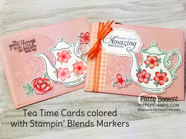 Stampin' UP! Tea Together Note Card idea and video tutorial by Patty Bennett. Card also features Lovely Lattice stamp background, with Tea Time framelits and Stampin' Blends markers. www.PattyStamps.com