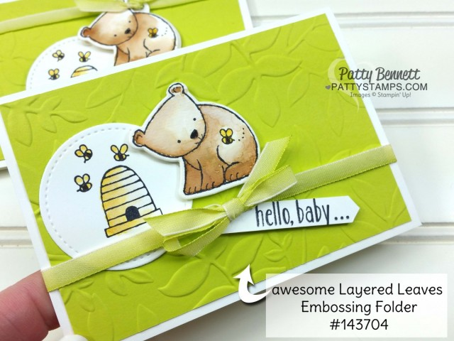 Retiring Stampin' UP! In Colors 2017-2019 colors. Baby Card idea featuring A Little Wild stamp set, by Patty Bennett www.PattyStamps.com