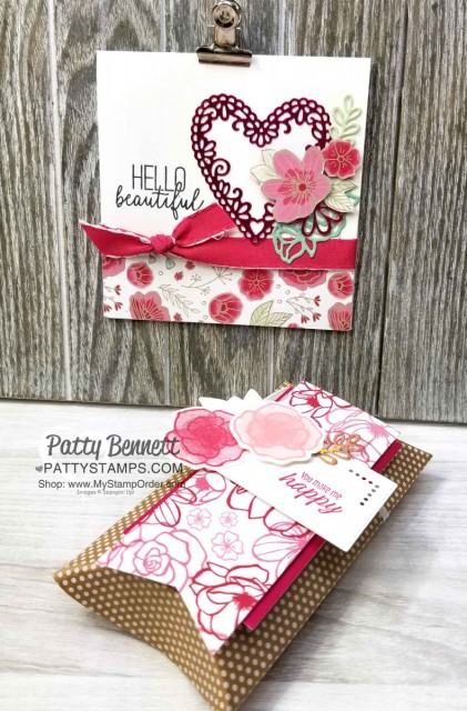 Stampin' UP! Be Mine Stitched Heart framelits with Lovely Flowers edgelit dies and All My Love designer paper card and pillow box idea perfect for Valentine's Day. Patty Bennett www.PattyStamps.com
