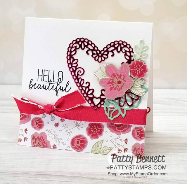 Stampin' UP! Be Mine Stitched Heart framelits with Lovely Flowers edgelit dies and All My Love designer paper card idea by Patty Bennett www.PattyStamps.com