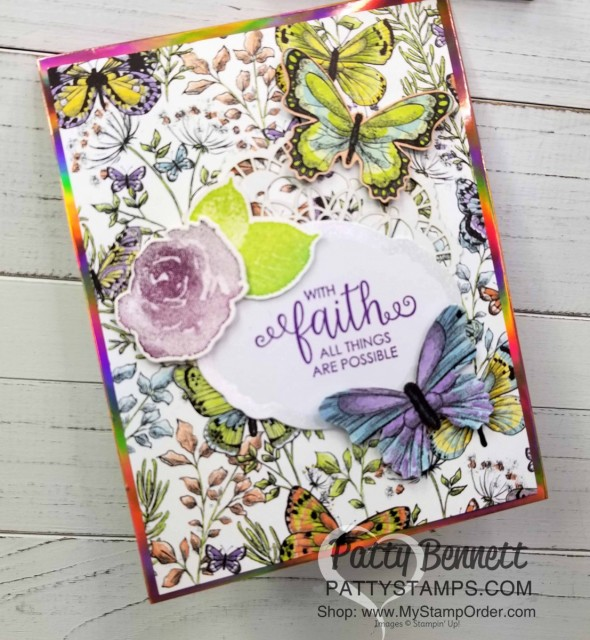 Stampin' UP! Sale-a-Bration 2019 papers: Grapefruit Grove Foil and Botanical Butterfly. Each one is a free gift choice with your $50 online order - limited time offer! www.PattyStamps.com