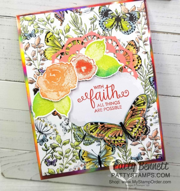 Handmade card featuring Stampin' UP! Sale-a-Bration 2019 papers: Grapefruit Grove Foil and Botanical Butterfly. Each one is a free gift choice with your $50 online order - limited time offer! www.PattyStamps.com