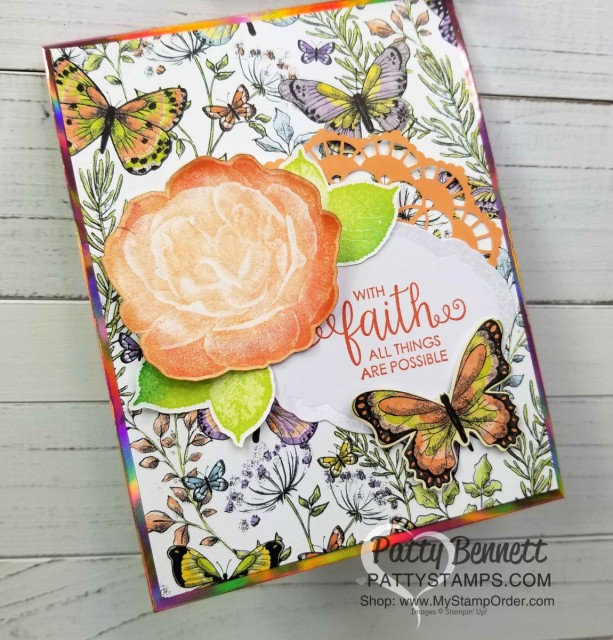 Handmade card featuring Stampin' UP! Healing Hugs stamp set and Sale-a-Bration 2019 papers: Grapefruit Grove Foil and Botanical Butterfly. Each one is a free gift choice with your $50 online order - limited time offer! www.PattyStamps.com