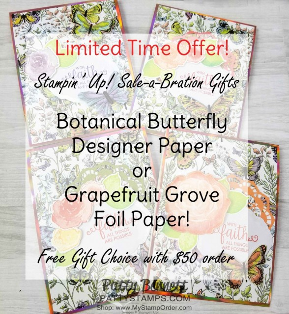 Handmade card featuring Stampin' UP! First Frost set and Healing Hugs stamp set and Sale-a-Bration 2019 papers: Grapefruit Grove Foil and Botanical Butterfly. Each one is a free gift choice with your $50 online order - limited time offer! www.PattyStamps.com