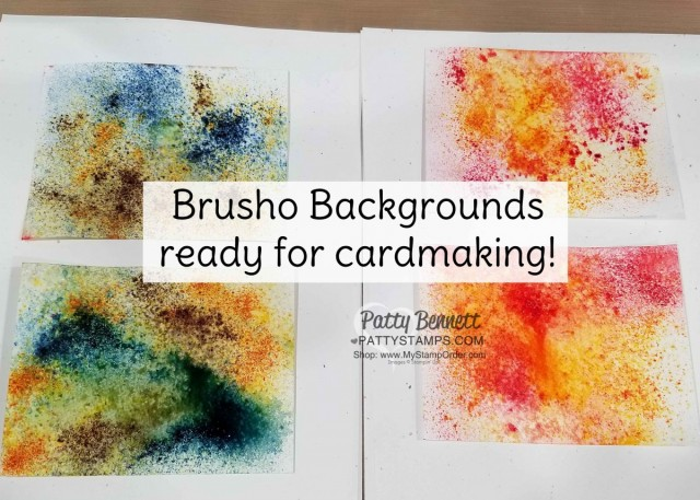Brusho watercolor backgrounds ready for handmade cards by Patty Bennett. www.PattyStamps.com