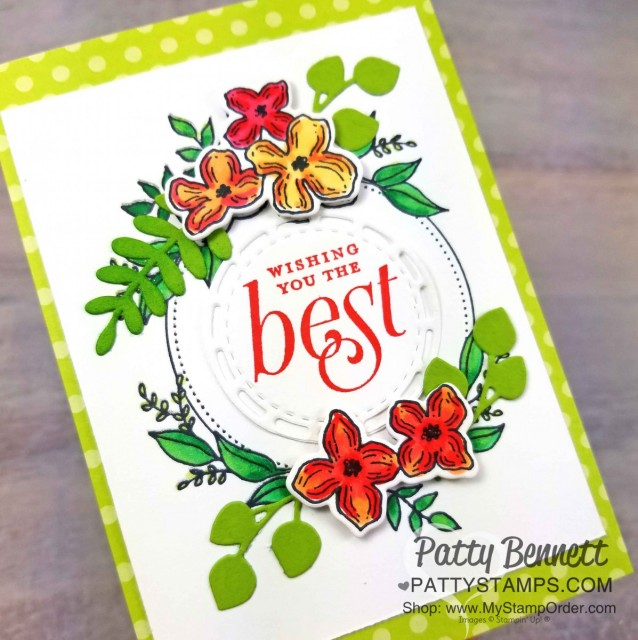 Retiring Stampin' UP! In Colors 2017-2019 colors. Card idea featuring Foliage Framelits and Floral Frames stamp set, by Patty Bennett www.PattyStamps.com