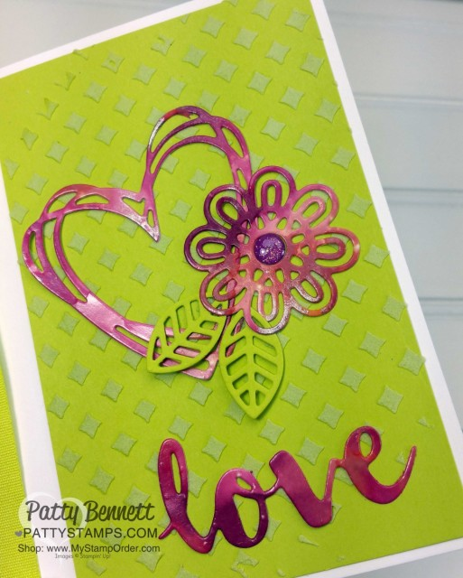 Retiring Stampin' UP! In Colors 2017-2019 colors. LOVE card idea featuring Sunshine Wishes Thinlits, by Patty Bennett www.PattyStamps.com