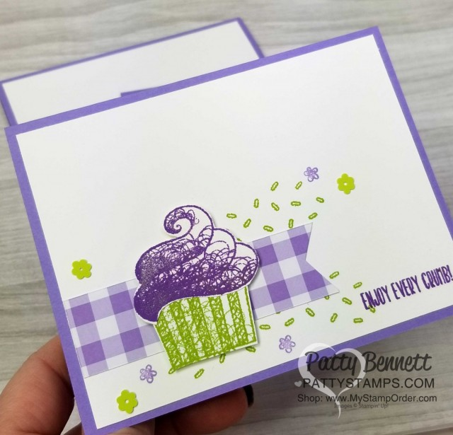 Hello Cupcake birthday card idea - Stampin' UP! Sale-a-Bration free gift set option. Featuring Gingham Gala paper. www.PattyStamps.com