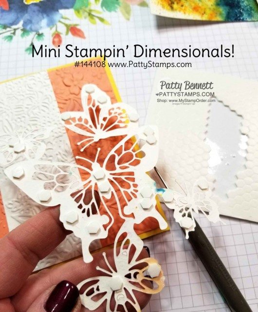 Craft Tip! Use Stampin' Up! Mini Stampin' Dimensionals on detailed die cuts like this Butterfly Beauty framelit. www.PattyStamps.com