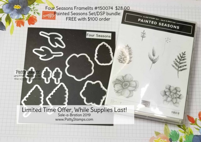 Four Seasons framelits and Painted Seasons stamp set/DSP bundle - limited time offer Stampin' UP! Sale-a-Bration 2019. www.PattyStamps.com