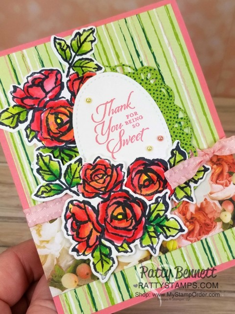 Retiring Stampin' UP! In Colors 2017-2019 colors. Card idea featuring Petals and More Thinlits and Petal Palette stamp set, by Patty Bennett www.PattyStamps.com